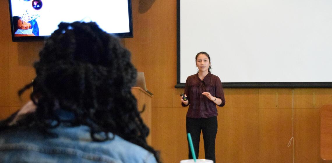 student presenting at 2019 capstones