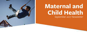 The October 2017 MCH newsletter header has a photo of a boy on a swing.
